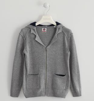 Full zip in tricot con toppe sarabanda GRIGIO MELANGE-8967