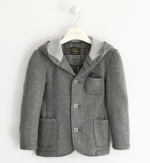 Felpa lana cotta con cappuccio sarabanda GRIGIO MELANGE-8993