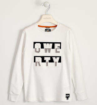 T-shirt 100% cotone con grafica a rilievo sarabanda BIANCO-0113