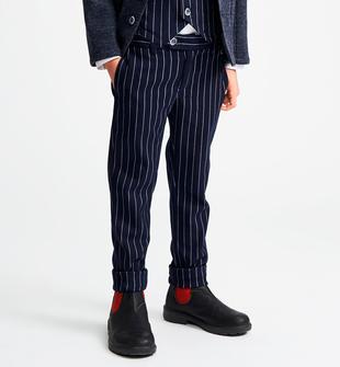 Elegante pantalone con effetto gessato sarabanda VERDE-4554