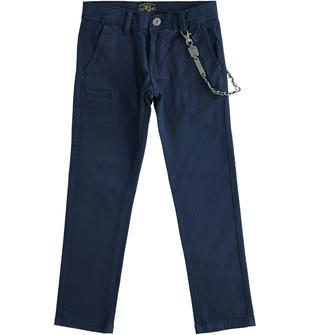 Pantalone in twill con portachiavi sarabanda NAVY-3854