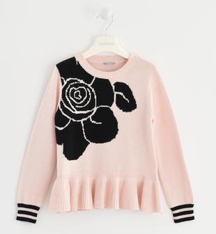 Maglia in tricot con rosa sarabanda ROSA CHIARO-2612