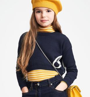 Maglia in tricot con ricamo a contrasto sarabanda NAVY-3885