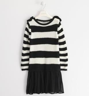 Abito in tricot con balza in voile plissé sarabanda PANNA-0112