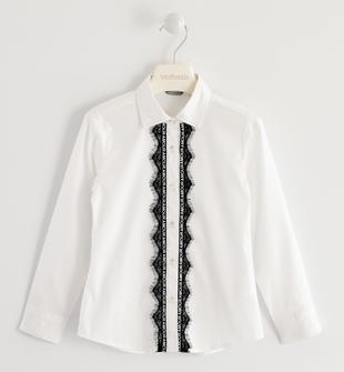 Camicia con tape e pizzo sarabanda BIANCO-0113