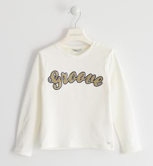 T-shirt con ricamo punto spugna sarabanda PANNA-0112