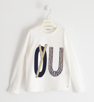 Maglietta girocollo con paillettes e ricamo spugna con lurex sarabanda PANNA-0112