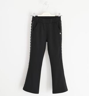 Pantalone con banda laterale in gros grain e perle sarabanda NERO-0658