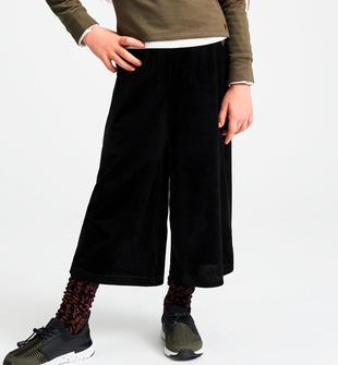 Pantalone modello crop in ciniglia rigata sarabanda NERO-0658