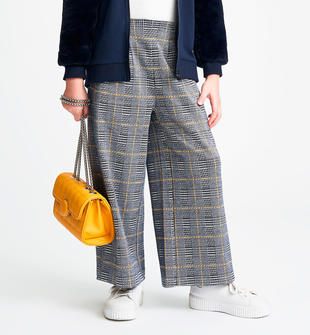 Pantalone modello crop fantasia pied de poule sarabanda NAVY-3885
