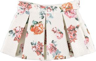 Gonna color panna con stampa all over di rose rosse  sarabanda ROSSO - 2244