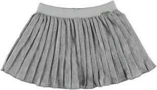 Gonna plissettata in tessuto laminato color argento sarabanda GRIGIO MELANGE - 8992