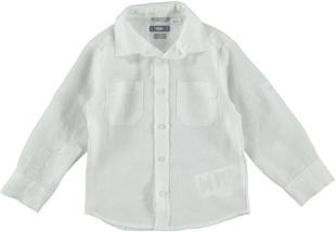 Camicia a manica lunga 100% lino con colletto a punta  BIANCO-0113