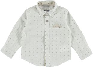 Camicia fantasia jacquard in cotone con taschino a filetto  PANNA-0112