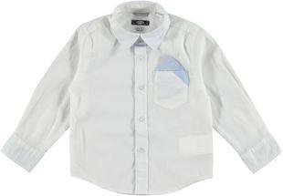 Camicia a manica lunga in cotone con colletto a punta sarabanda BIANCO-0113