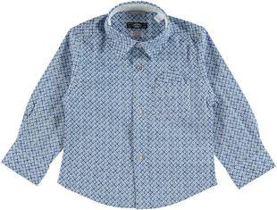 Camicia con microfantasia stampata in misto cotone sarabanda