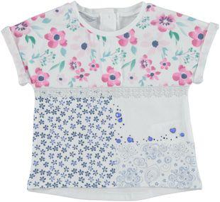 T-shirt in cotone elasticizzato con stampa patchwork sarabanda BIANCO - 0113