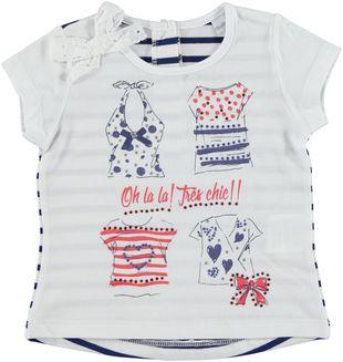 T-shirt in cotone elasticizzato con fiocco in sangallo sarabanda BIANCO - 0113
