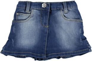Minigonna jeans con balze arricciate dietro  STONE WASHED - 7450