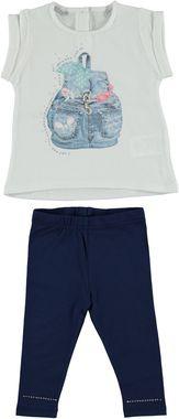 Completo maxi maglia e leggings in cotone elasticizzato con zainetto serigrafato  NAVY - 3547