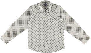 Camicia classica in satin 100% cotone a pois sarabanda BIANCO OTTICO-BEIGE - 6F16