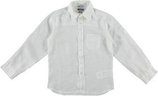 Camicia classica a manica lunga 100% lino sarabanda BIANCO - 0113