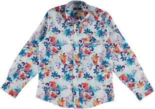 Camicia floreale a manica lunga 100% cotone sarabanda BIANCO OTTICO-MULTICOLOR - 6F18