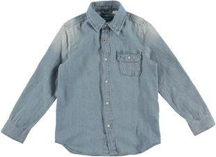 Camicia a manica lunga 100% cotone in denim lavato  BLU CHIARO LAVATO-7310