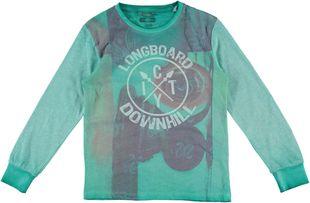 Maglietta a maniche lunghe in 100% cotone fiammato  ACQUA GREEN-4642