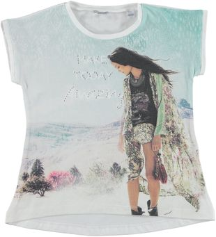 T-shirt bicolore in cotone elasticizzato sarabanda BIANCO-0113