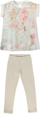 Elegante completo maxi maglia e leggings con stampa floreale  BEIGE - 0434