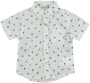 Camicia a manica corta 100% cotone con stampa macchinine sarabanda BIANCO-NAVY - 6G46