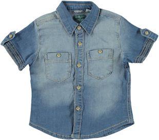 Camicia a manica corta in jeans elasticizzato lavato sarabanda STONE BLEACH - 7350