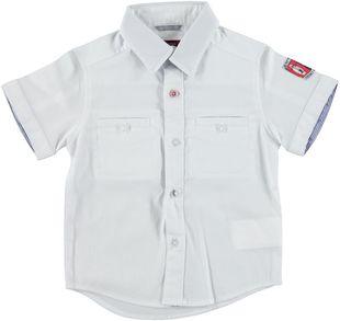 Fresca camicia a manica corta con scudetto  BIANCO-0113