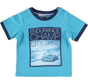 T-shirt in jersey 100% cotone con collo girocollo sarabanda TURCHESE-4024