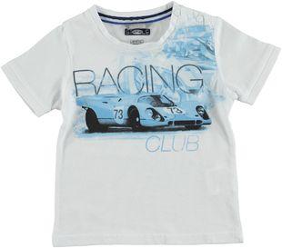 T-shirt 100% cotone con auto da corsa sarabanda BIANCO - 0113