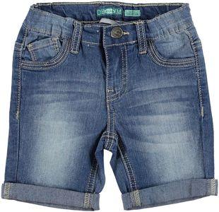 Pantalone corto denim con cuciture ecrù  STONE BLEACH-7350