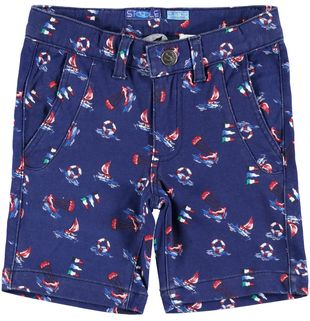 Morbido pantalone corto in leggera felpa 100% cotone sarabanda BIANCO-NAVY - 6G43