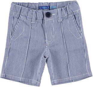 Pantalone corto in cotone elasticizzato microriga tinto filo sarabanda NAVY - 3547