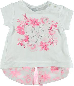 Elegante t-shirt in misto viscosa con fiori, farfalle e strass  BIANCO-FUXIA - 6G17