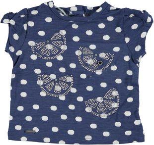 T-shirt in fresca viscosa stretch con stampa a pois sarabanda BIANCO-INDIGO - 6G45