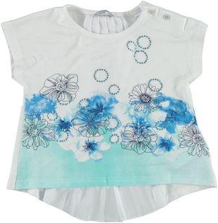 Maxi maglia con stampa floreale e strass  BIANCO - 0113