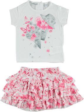 Completo con t-shirt e gonna con motivi floreali  BIANCO-FUXIA - 6G17