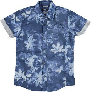 Camicia in satin 100% cotone con stampa floreale e taschino sarabanda BIANCO-BLU - 6G39
