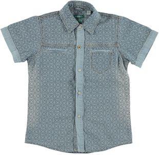 Camicia manica corta in denim 100% cotone con stampa jacquard sarabanda INDIGO-BLU - 6G22
