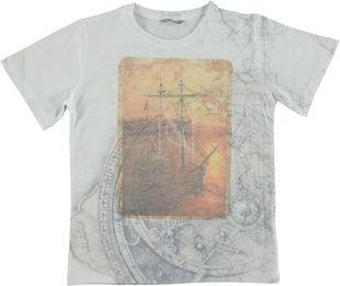 T-shirt con stampa artigianale sarabanda BIANCO-MULTICOLOUR - 6G29