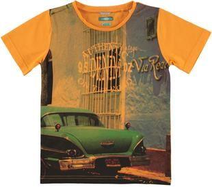 T-shirt a manica corta 100% cotone stampa fotografica sarabanda ORANGE-1834