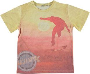T-shirt stampata misto cotone sarabanda BIANCO-CORALLO - 6G24