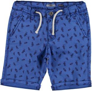 Pantalone corto modello cavallo calato in cotone sarabanda BIANCO-ROYAL - 6G32