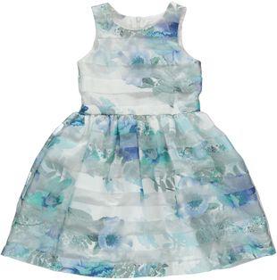 Elegante e raffinato abito scamiciato con stampa floreale sarabanda VERDE MENTA - 4431